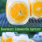 This spritzer made with Italian Limoncello, vodka, champagne and a rosemary simple syrup.