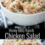 This tangy, smokey flavored chicken salad is made with rotisserie chicken, honey bbq sauce and Ranch salad dressing.
