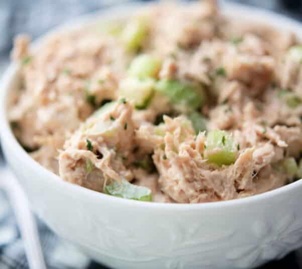 Honey BBQ Ranch Chicken Salad in a white bowl