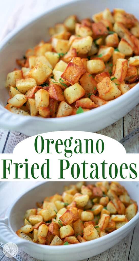 collage photo of oregano fried potatoes
