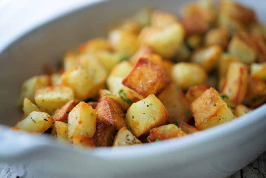 Closeup of Oregano Fried Potatoes