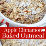 Apple Cinnamon Baked Oatmeal made with McIntosh apples, oats, brown sugar and pecans is a tasty way to start your day.