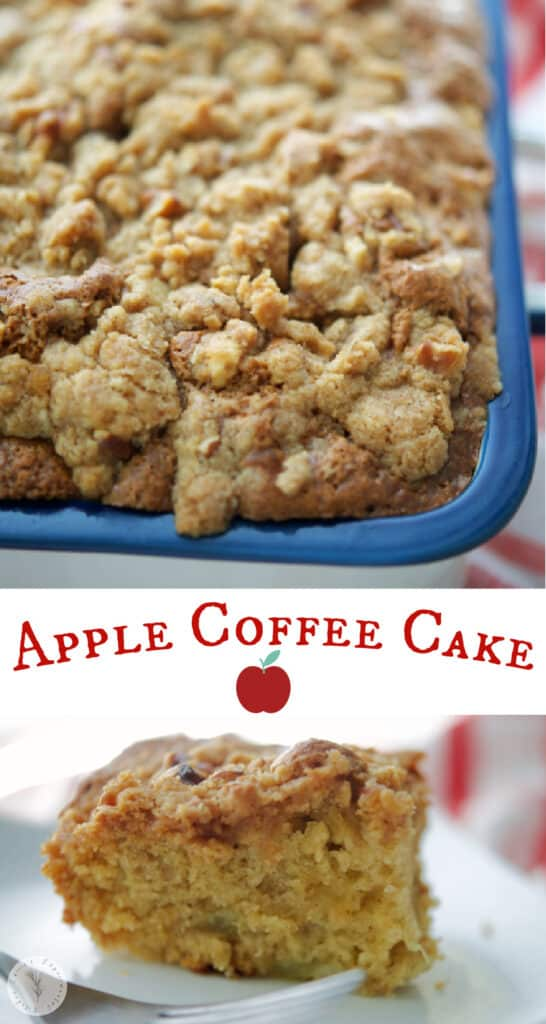 Apple Coffee Cake made with chopped apples and sour cream; then topped with a cinnamon walnut buttery topping is the perfect fall dessert.