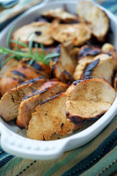 Grilled Chicken marinated in honey mustard and balsamic vinegar.