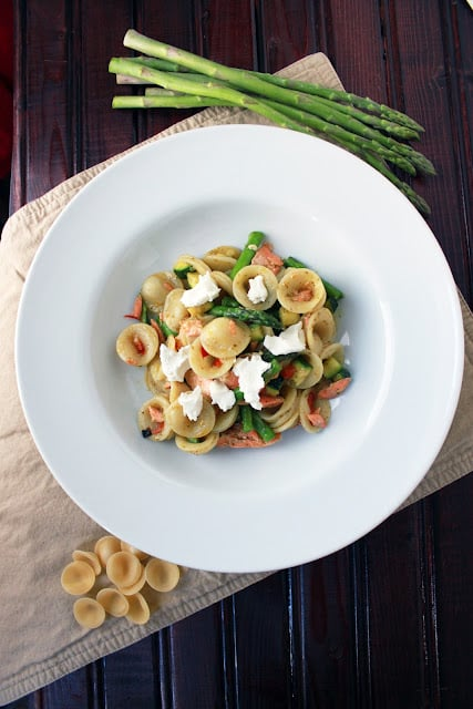 Orecchiette pasta with salmon