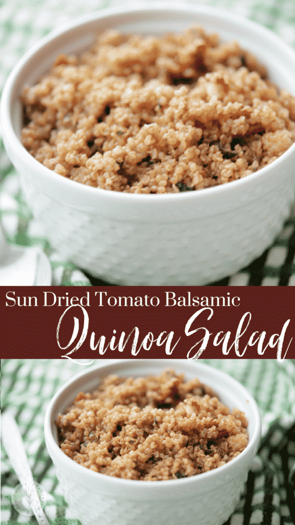 This gluten free salad is made with quinoa, fresh sun dried tomatoes, basil, balsamic glaze and EVOO is super easy and flavorful.