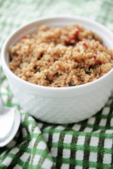 Quinoa Salad with sun dried tomatoes and balsamic vinaigrette