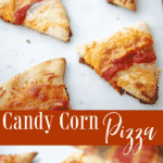 This pizza looks just like candy corn, but made with Mozzarella and Cheddar cheeses. It's a fun kid friendly, Halloween dinner or snack idea!