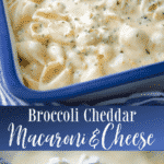 Broccoli Cheddar Macaroni and Cheese is made with shell pasta in a rich and creamy sauce with broccoli and carrots.