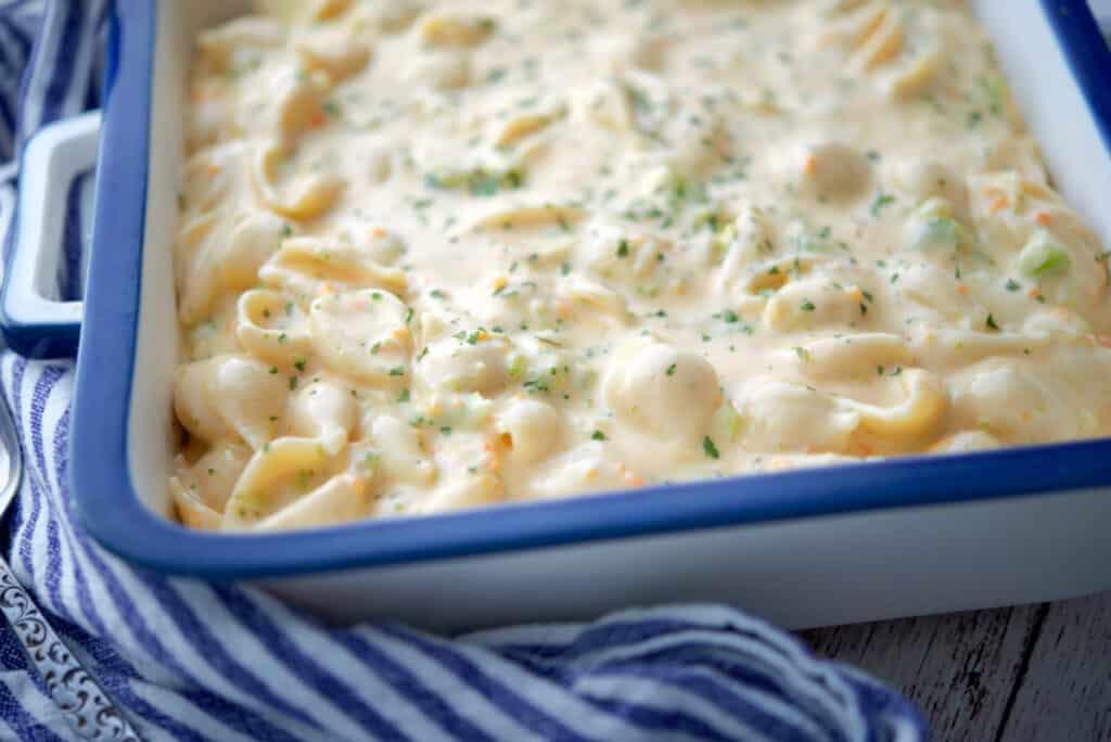Broccoli Cheddar Macaroni and Cheese in dish