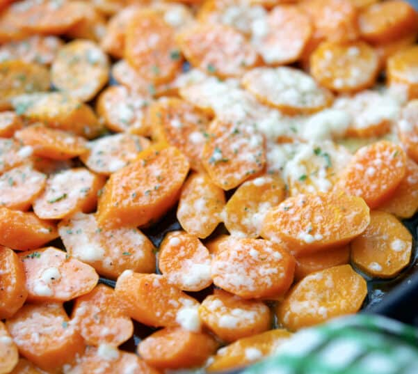 Parmesan Braised Carrots in a pan