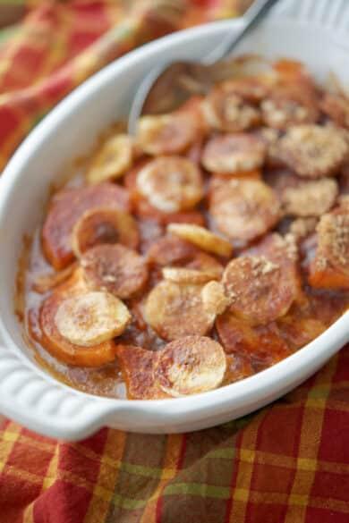 Sweet Potato Banana Casserole in white dish
